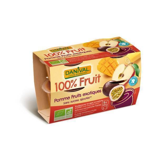 Danival - Purée Pommes-fruits exotiques BIO 4 x 100g