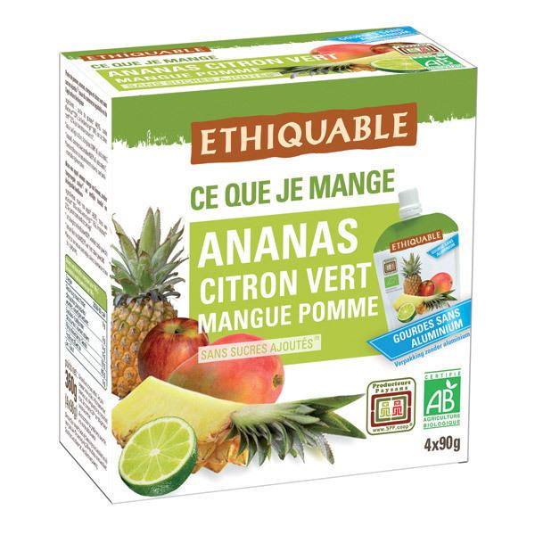Ethiquable - Gourdes Ananas Citron vert 4x90g