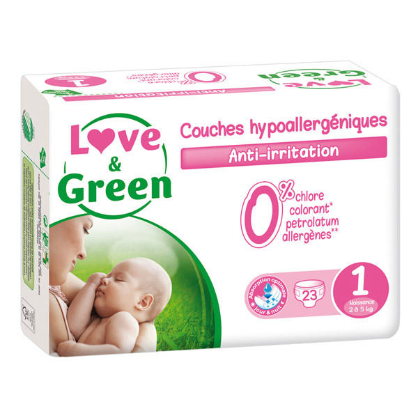 23 couches hypoallerg niques t1 2 5kg love green acheter sur. Black Bedroom Furniture Sets. Home Design Ideas