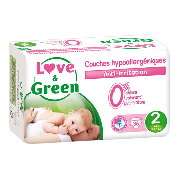 Love & Green - 36 Couches hypoallergéniques T2 3-6Kg