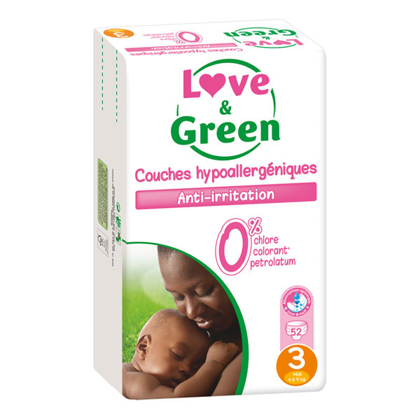 Love & Green - 52 Couches hypoallergéniques T3 Jumbo pack 4-9Kg