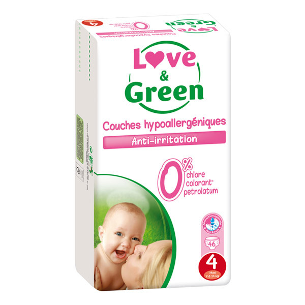 Love & Green - 46 Couches hypoallergéniques T4 Jumbo pack 7-14Kg