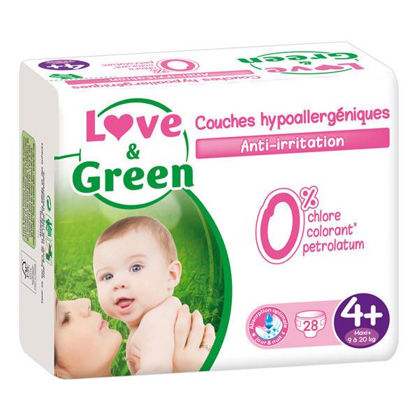 Love & Green - 28 Couches hypoallergéniques T4+ 9-20Kg