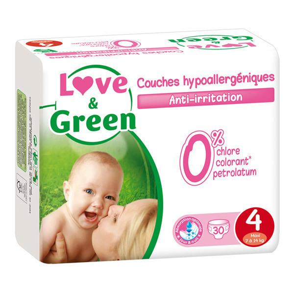 Love & Green - 30 Couches hypoallergéniques T4 7-14Kg