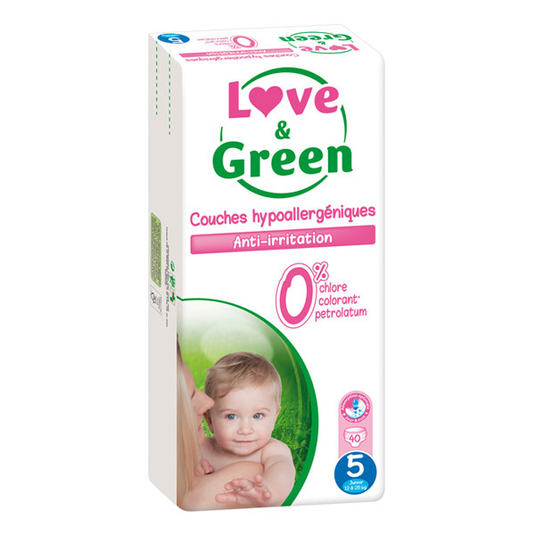 Love & Green - 40 Couches hypoallergéniques T5 Jumbo pack 12-25Kg