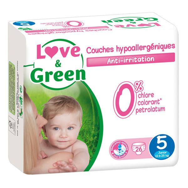 Love & Green - 26 Couches hypoallergéniques T5 12-25Kg