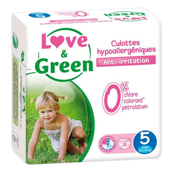 Love & Green - 18 Culottes apprentissage hypoallergéniques T5 12-25Kg