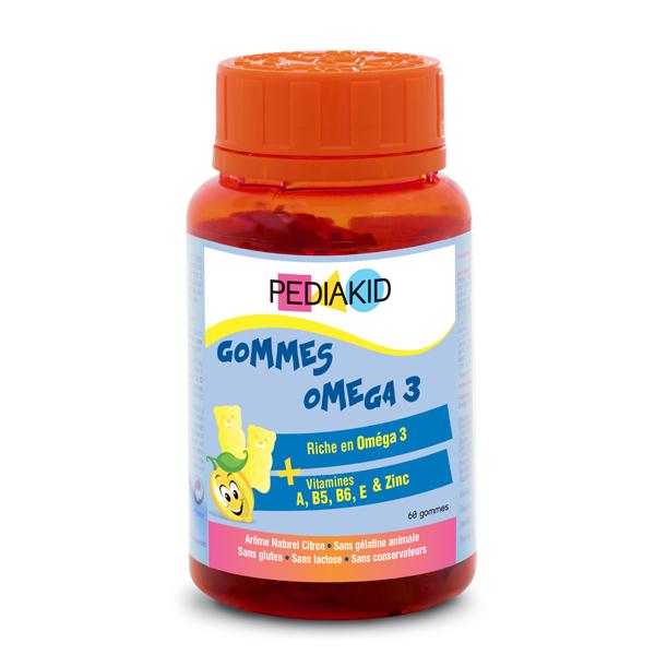 Pediakid - Gommes Oméga 3 - Pilulier 60 Oursons Goût Citron