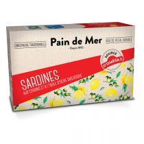 Pain de Mer - Sardines à l'huile d'olive et au citron bio 120g/90g