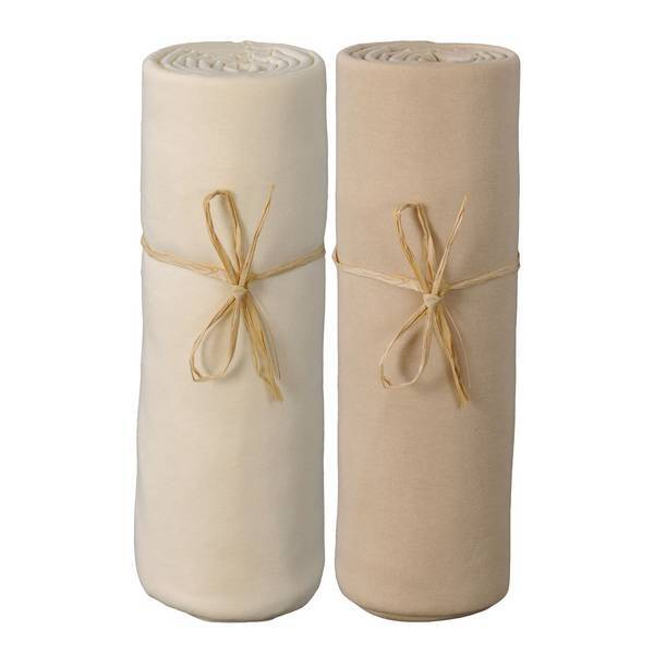 P'tit Basile - 2 Draps-housses 70x140 cm Ecru - Cappuccino