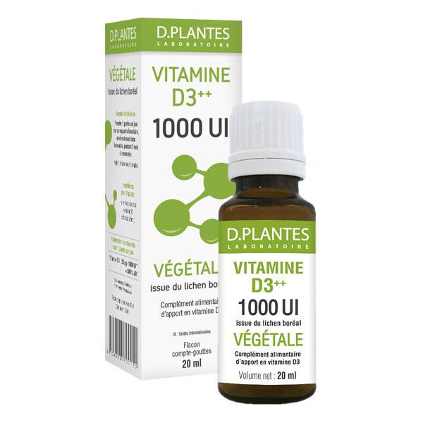 D.Plantes - Vitamine D3 Plus Végétale Huile 1000IU - Flacon de 20mL