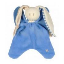 Keptin-Jr - Doudou bleu oreilles à carreaux et rayures 22cm