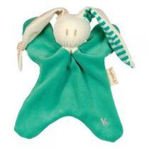 Keptin-Jr - Doudou vert oreilles à carreaux et rayures 22cm
