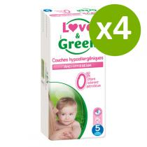 Love & Green - Pack 4x40 Couches hypoallergéniques T5 Jumbo 12-25kg