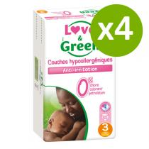 Love & Green - Pack 4x52 Couches hypoallergéniques T3 Jumbo 4-9Kg