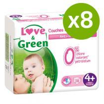 Love & Green - Pack 8x28 Couches hypoallergéniques T4+ 9-20Kg