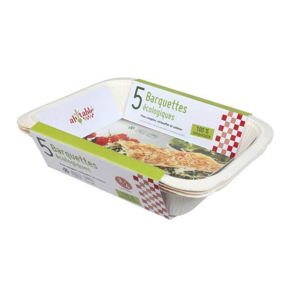Ah! Table! - Lot 5 barquettes alimentaires compostables - 1.5L