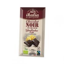 Ikalia - Chocolat noir 70% au gingembre confit - 100g