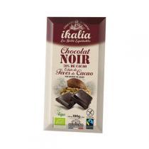 Ikalia - Chocolat noir 70% et éclats de fèves de cacao - 100g