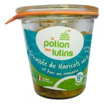La Potion des Lutins - Fricassée Haricots vert Porc au romarin 12+ Bio 200g