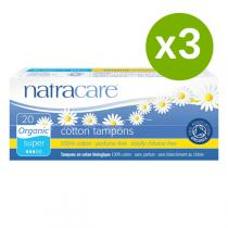 Natracare - Lot de 3 x Tampons Super sans applicateur x20