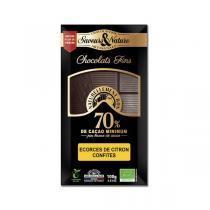 Saveurs & Nature - Chocolat noir 70% et écorces de citron - 100g