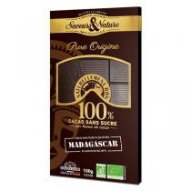 Saveurs & Nature - Tablette chocolat noir 100% Madagascar sans sucre 100g