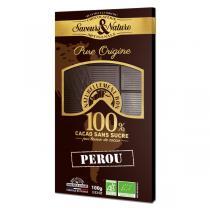 Saveurs & Nature - Tablette chocolat noir 100% Pérou sans sucre 100g