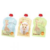 Squiz - Pack 3 gourdes squiz «Sophie la girafe» 90 ml + 1 embout