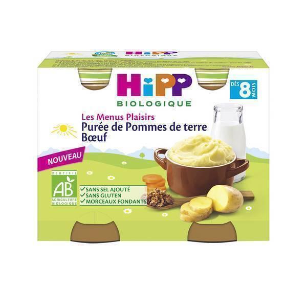 Hipp - 2 pots Purée de Pommes de terre Boeuf 2x190g Dès 8m