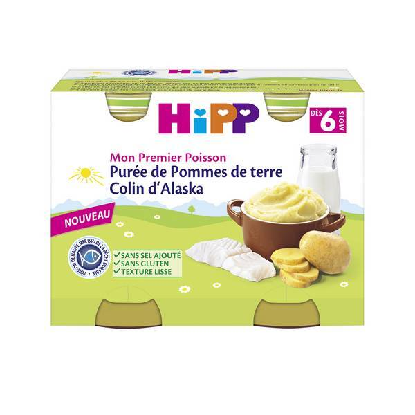 Hipp - 2 pots Purée de P. de terre Colin d'Alaska 2x190g Dès 6m