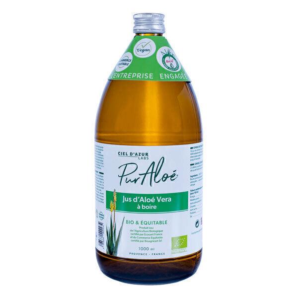 Pur Aloé - Lot de 2 x Jus à Boire d'Aloe Vera Bio Pasteurisé - 2 x 1L