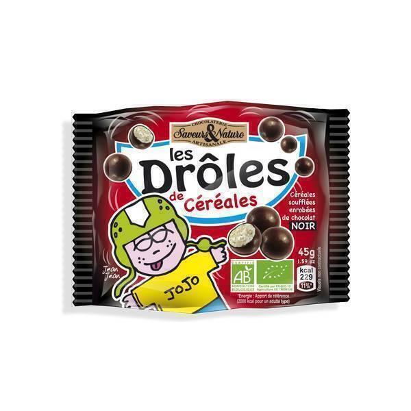 Saveurs & Nature - Billes 3 céréales enrobées de chocolat noir - 45g