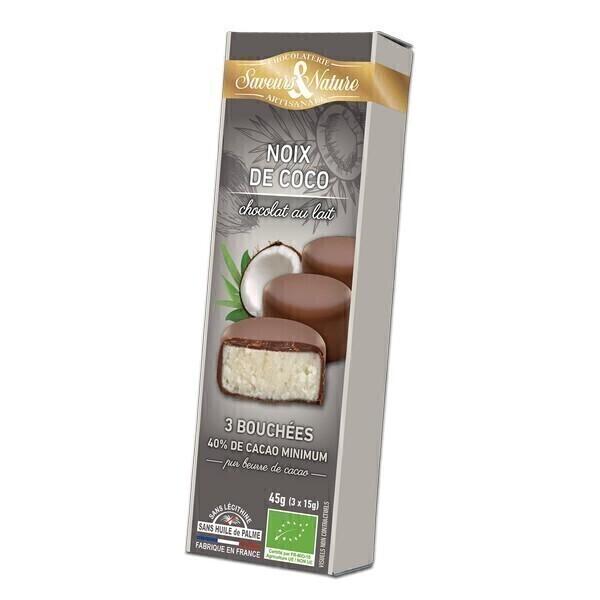 Saveurs & Nature - Bouchées de Chocolat au lait - Coco 3x15g