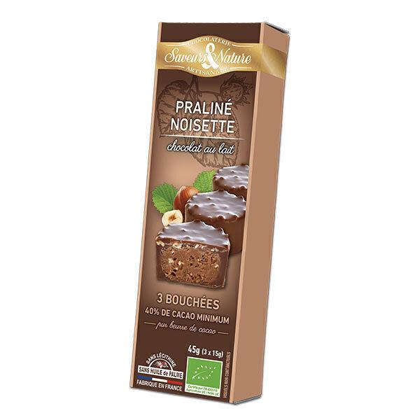 Saveurs & Nature - Bouchées de Chocolat au lait - Noisette 3x15g