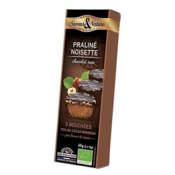 Saveurs & Nature - Bouchées de Chocolat noir - Noisette 3x15g