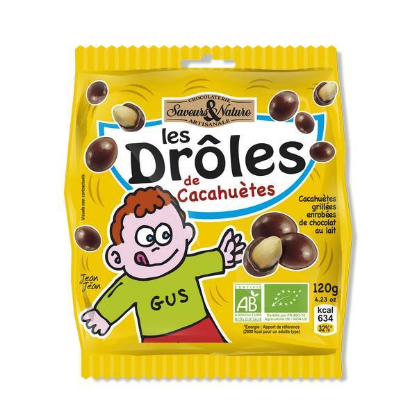 Saveurs & Nature - Cacahuètes enrobées de chocolat au lait - 120g