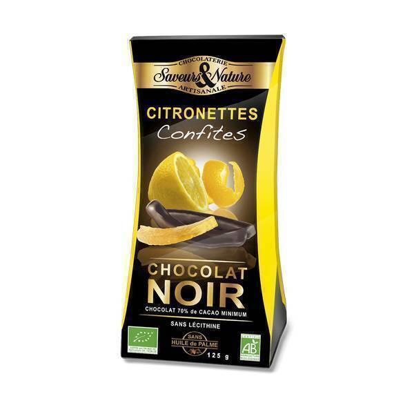 Saveurs & Nature - Citronnettes confites Chocolat noir 70% - 125g