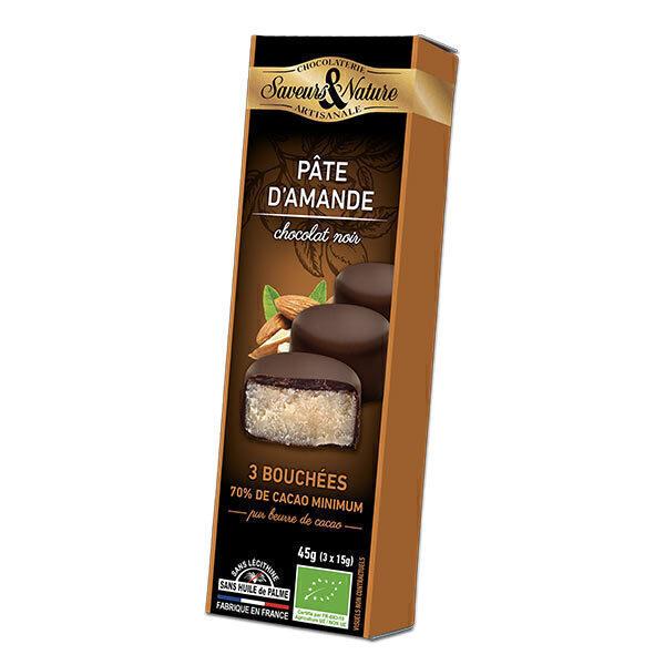 Saveurs & Nature - Pâte d'amande enrobée de chocolat noir - 3x15g