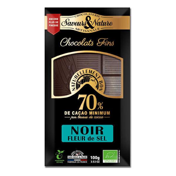 Saveurs & Nature - Tablette chocolat noir 70% à la fleur de sel de Guérande 100g