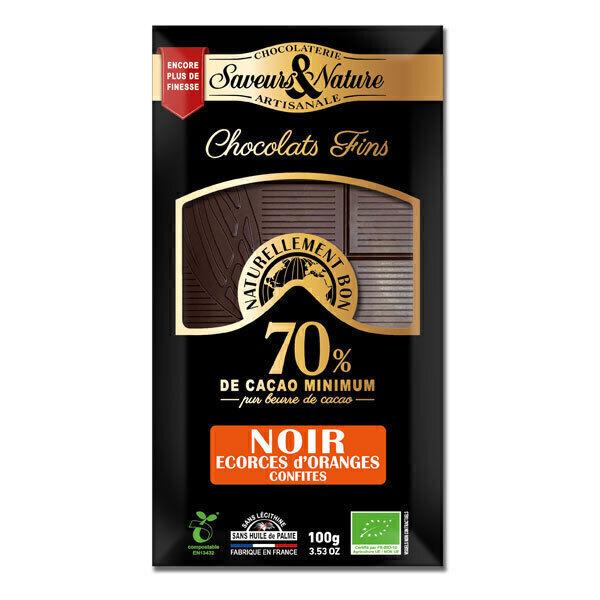 Saveurs & Nature - Tablette chocolat noir 70% écorces d'orange 100g