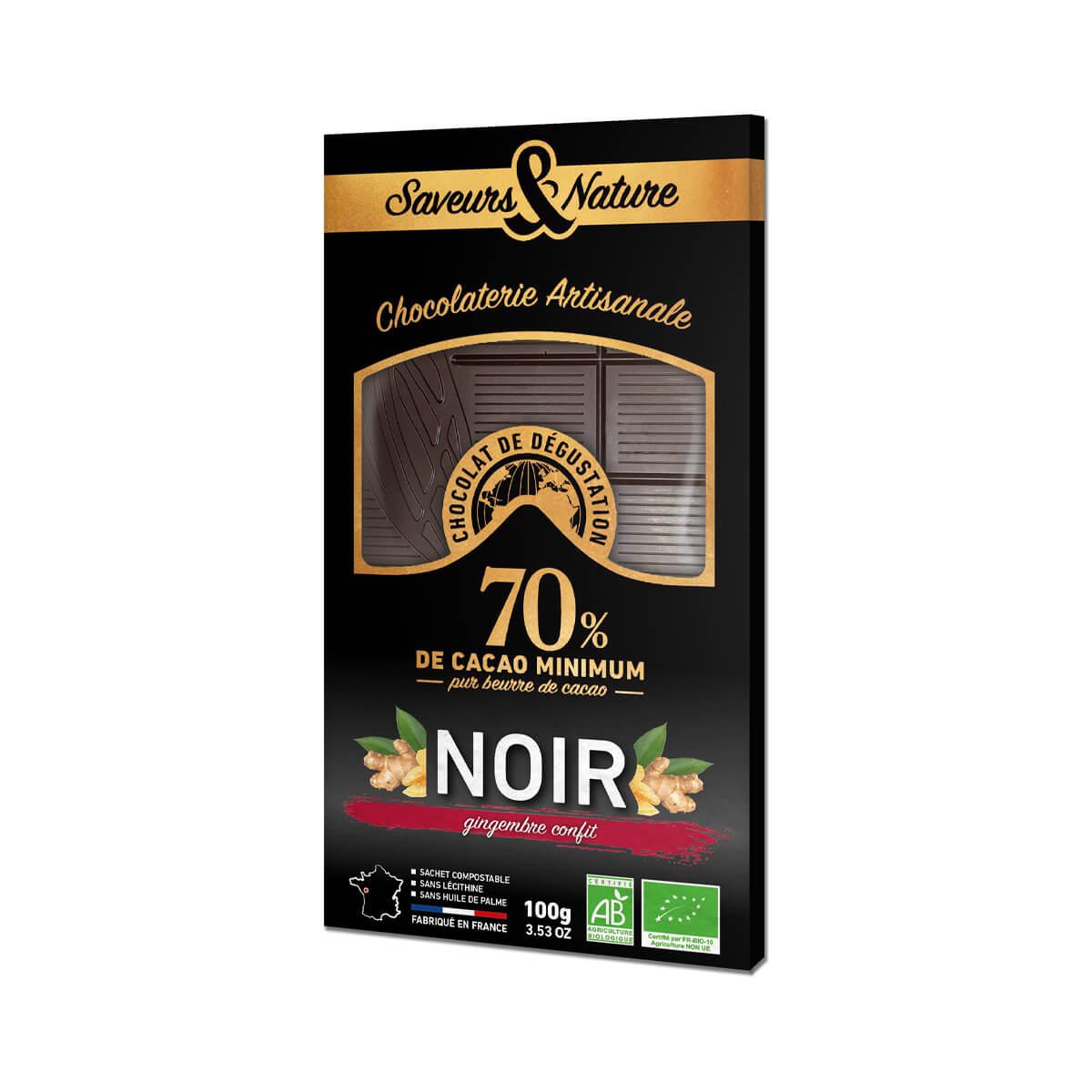 Saveurs & Nature - Tablette chocolat noir 70% gingembre confit 100g