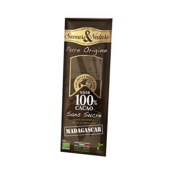 chocolat noir 100 madagascar sans sucre 100g saveurs. Black Bedroom Furniture Sets. Home Design Ideas