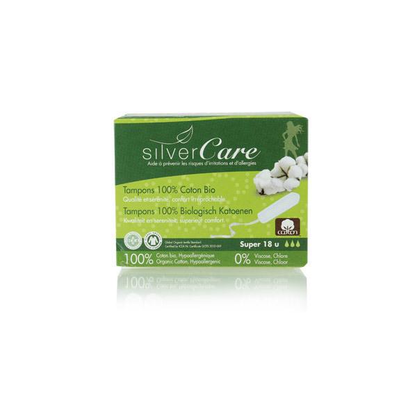 Silver Care - Lot de 3 x 18 Tampons coton bio - Super Sans applicateur