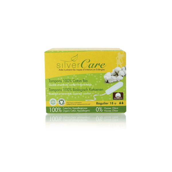 Silver Care - Lot de 3 x 18 Tampons coton bio - Régulier Sans applicateur