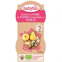 "Babybio - Pack 2 bols, Pomme-Poire-Vanille, ""P'tits Fruits"", 2x120g"