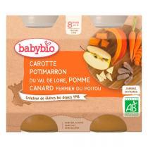Babybio - Petits pots carotte potimarron pomme canard 2x200g - Dès 8 mois