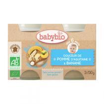 Babybio - Petits pots Douceur Pomme Banane 6 mois 2x130g