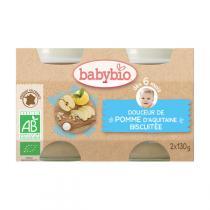 Babybio - Petits pots Douceur Pomme Biscuit 6 mois 2x130g