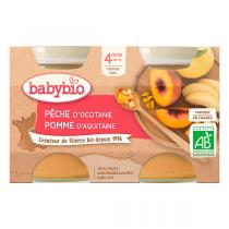 Babybio - Petits pots Pêche Pomme dès 4mois 2 x 130g